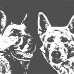Zwart-wit schilderij honden