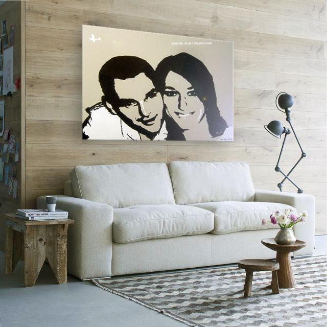 Canvas schilderij van Ruud & Suus in de slaapkamer