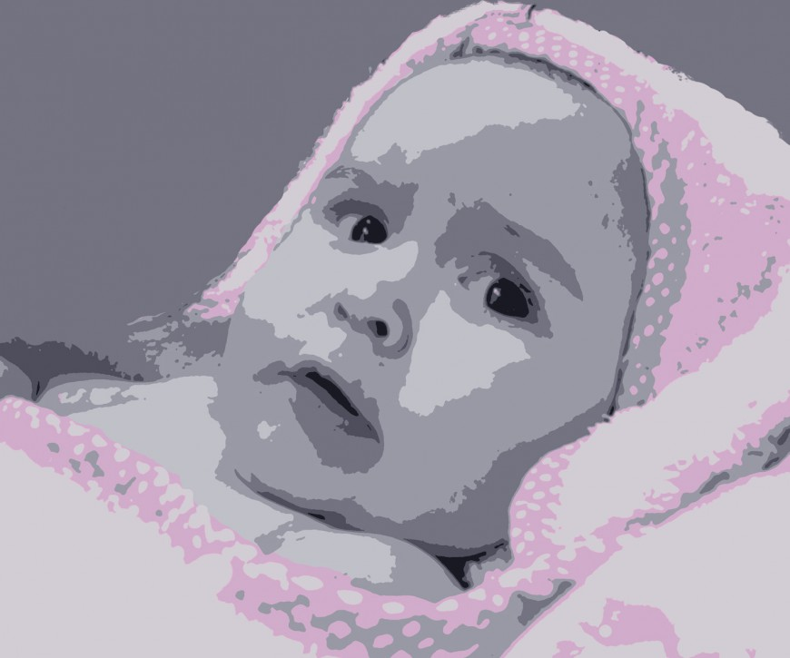 Baby portret roze detail