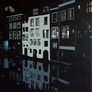 Schilderij Lijnmarkt Utrecht Nacht canvas